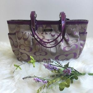 Coach Signature purple patent leather trim tote